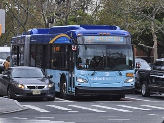 Motorists who remain in a bus lane without exiting at the first possible right turn, or they are captured as blocking the bus lane by two successive buses, are considered violating traffic laws and will be ticketed.Marc A. Hermann / MTA New York City Transit