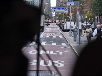 NYCT is using an Automated Bus Lane Enforcement system on 33 buses serving the B44 SBS route, which travels on approximately 10 miles of dedicated bus lanes implemented by the NYCDOT. Marc A. Hermann / MTA New York City Transit