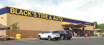 Black's Tire Service's new retail-commercial store in Hickory, N.C., has a drive-through service bay design. Vehicles are serviced at work stations inside the building. The space is equivalent to roughly 12 bays in a traditional shop design.