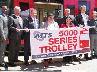 "Officials with the San Diego Metropolitan Transit System unveiled the first Siemens vehicle of the new Trolley series as part of a ""Trolley Open House.""