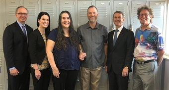 (From L to R) Tom Egan, MV President and COO; Stephanie Weber, MV VP of Safety; Heather Moss, MV Driver John Moss' wife; John Moss, MV Driver of the Year; Kevin Jones, MV CEO; and David Jickling, Director of Public Transportation, RTC of Washoe County.  