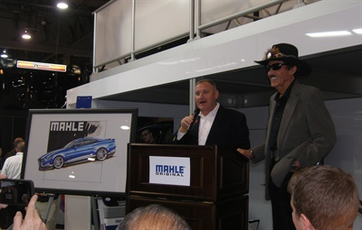 Champion NASCAR driver Richard Petty (right) and Ted Hughes, marketing manager for Mahle Aftermarket, announced Drive with the Original promotion at Mahle's booth at the 2016 AAPEX on Nov. 1.