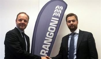 Dino Maggioni (left) is the new CEO of Marangoni Group. He is congratulated by Marangoni Chairman Vittorio Marangoni.