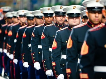 Marines march in 2011 New York Veterans Day Parade. Photo: DVIDSHUB/Wikimedia Commons