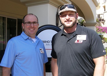 Drew White of Tire Rack (left) and Mark Hadley of Advantage One Tire Network say Kumho has improved the dynamic of its U.S. operations over the last few years and their businesses can depend on Kumho's quality and pricing.