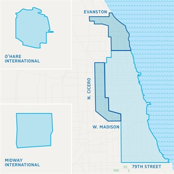 A map of th enew Chicago service area. Via