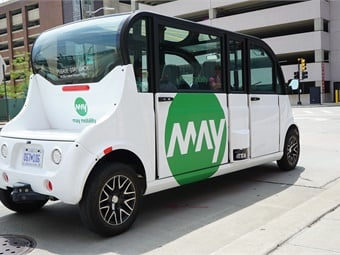 The Grand Rapids Autonomous Mobility Initiative will bring four May Mobility six-seat, electric shuttles to the streets of downtown Grand Rapids from March 2019 to March 2020. Photos courtesy May Mobility