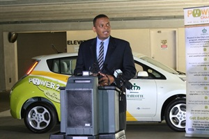 The Senate voted unanimously to confirm Anthony Foxx as secretary of transportation. He is seen here speaking at an electric vehicle event as mayor of Charlotte, N.C.