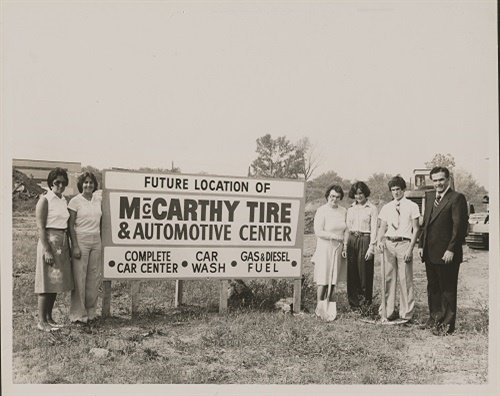 In 1978 McCarthy Tire Service broke ground on its second location in Kingston, Pa. Three generations of John McCarthy's family were on hand. From left is CeCe McCarthy (mother), Katie McCarthy (sister), Claire McCarthy (grandmother), Mary Ellen McCarthy (sister), John McCarthy and Jack McCarthy (father). The store opened a year later. (Photo courtesy McCarthy Tire Service)