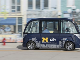 Mcity will study how passengers react to the vehicle, manufactured by Navya, as a way to gauge consumer acceptance of the technology. Photo: Michigan Photography