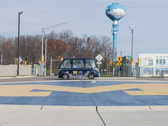 An autonomous vehicle being tested at the University of Michigan's MCity test site.