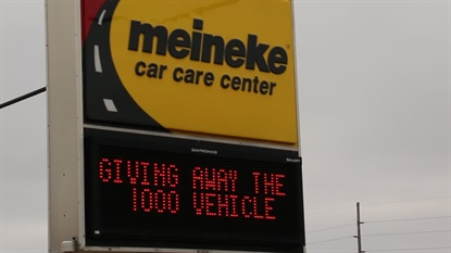 The Meineke store in Ham Lake, Minn., hosted the car giveaway.