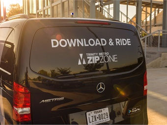 Commuters in Fort Worth can use the new ZIPZONE service by downloading the Trinity Metro ZIPZONE smartphone app powered by Via, available on iOS and Android.