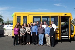 Mesa Public Schools took delivery of its first propane buses last week. Pictured are representatives from the district, Canyon State Bus Sales, Micro Bird, Roush and Ferrellgas.