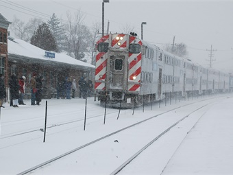 Metra's winterization efforts include stockpiling 63,000 bags (more than 3.1 million pounds) of salt to cover the platforms and other areas under Metra's responsibility. Photo: Metra