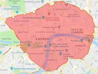 Figure 2: London Congestion Charge and Ultra Low Emission Zone
