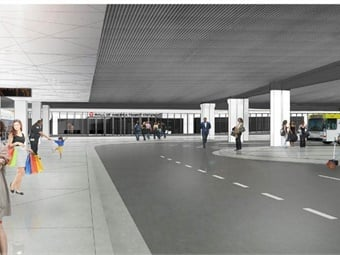 The transit center sees more than 5,600 boardings a day, as a connection point for light rail, the Red Line, and dozens of Metro Transit and Minnesota Valley Transit Authority bus routes. Rendering via Metro Transit