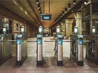 The new optic readers installed at Metro Rail gates in Los Angeles Union Station.