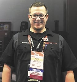 Product Manager Michael Rose took a breath from demonstrating Bartec USA LLC products for a photo during the SEMA Show.