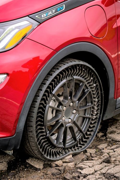 "The Michelin UPTIS Prototype airless tire may drop ""Prototype"" from its name as soon as 2024."