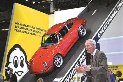 """""""Michelin's ultra-high performance tires for the world's most exciting performance vehicles are directly descended from the tires that are engineered from the track,"""" says Groupe Michelin CEO Jean-Dominique Senard. Michelin North America Inc.'s booth at the 2017 NAIAS featured Porsche 911s reimagined by Singer Vehicle Design."""