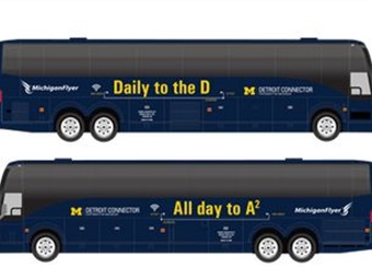 Rendering of the newly redesigned Detroit Connector bus. Credit: University of Michigan