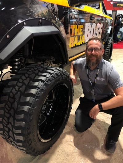 Robert Dejarnette says the new Baja Boss extreme mud terrain tire has a 3-ply sidewall and 6-ply tread.