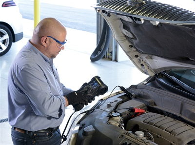 The CPX-900 battery and system analyzer from Midtronics for conventional and advanced vehicle systems assesses the health of both a battery's starting and reserve capacity abilities through patented Conductance Profiling technology. Photo courtesy of Midtronics