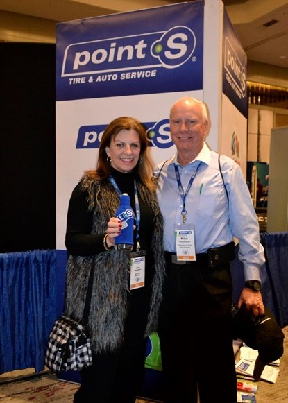 Mike and Joyce Nussbaum are retiring and have sold Nussbaum Distributing Inc. to Tire Factory. The cooperative of dealers says the deal will help it grow the Point S network in the U.S. (The Nussbaums are pictured at the 2018 Point S annual meeting.)
