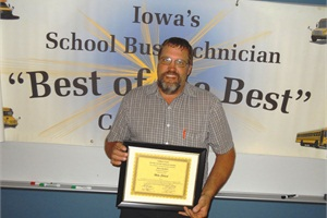 "Mike Ehrlich, a bus technician from Western Dubuque Schools, won the sixth annual ""Best of the Best Technician's Training & Competition,"" held in Waterloo, Iowa, on June 12."