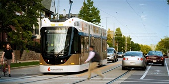 Milwaukee's long-awaited streetcar, The Hop, launched its initial 2.5-mile loop on city streets on November 2, 2018. Photo: VISIT Milwaukee
