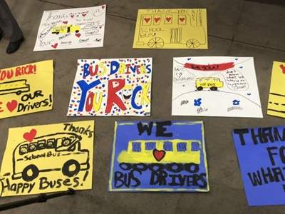 School districts across the state celebrated the day by passing out thank-you cards made by students for their bus drivers.