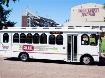 An Old Main Express Trolley is part of the transportation fleet that makes up the Starkville-MSU Area Rapid Transit, also known as S.M.A.R.T. system. S.M.A.R.T. is being recognized as Transportation System of the Year by the Mississippi Public Transit Association. (Photo by Russ Houston)