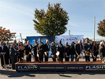 Officials at the groundbreaking ceremony for the Montgomery County bus rapid transit system included: Montgomery County Executive Ike Leggett; Senator Chris Van Hollen; County Council President Hans Riemer and Councilmembers Roger Berliner, Marc Elrich, Nancy Floreen, Tom Hucker and Nancy Navarro; Maryland Transportation Secretary Pete K. Rahn; Federal Transit Administration Deputy Regional Administrator Anthony Tarone; Howard County Executive Allan Kittleman, Corridor Advisory Committee Member Sanjida Rangwala and MCDOT Director Al Roshdieh. Photo: MCDOT