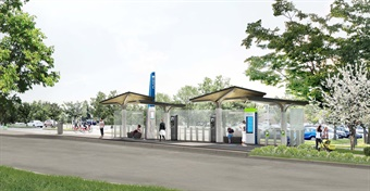 Starting in 2020, the 14-mile, 11-station FLASH bus rapid transit line will run between Burtonsville and downtown Silver Spring, Md. Rendering: MCDOT