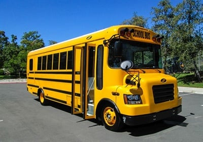 Triad Community Unit School District #2 in Troy, Ill., ordered three Motiv-powered electric buses. Shown here is a Motiv-powered electric bus. Photo courtesy Motiv Power Systems