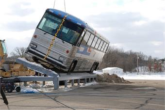 Motorcoach rollover testing image courtesy NHTSA.