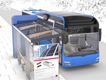 A rendering of Multi-Contact's automatic fast-charging system for buses.