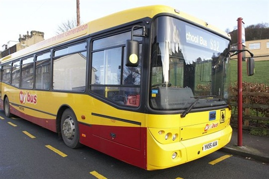 """More than 350,000 kids in the U.K. have lost their transportation entitlement since 2008, a new report from STC Ltd. shows. Seen here is a """"My bus"""" school bus in West Yorkshire."""
