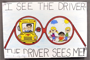 Samantha Bussell of Lafayette, Tenn., was the overall winner of NAPT's 2011 National School Bus Safety Week Poster Contest.  Photo by Jaime Gallego
