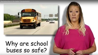 "The NAPT and STA have released ""My School Bus, the Safest Form of Student Transportation"" to promote National School Bus Safety Week. Shown here is a screen shot from the video."