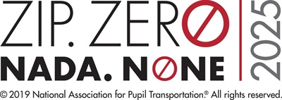 Shown here is the campaign logo. The campaign's goal is to reach zero school bus rider fatalities by 2025.