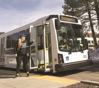 With a fleet of 23 buses, NAU provides shuttle services on two campus routes to approximately 12,000 passengers per day.