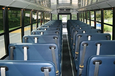 Eleven North Carolina school districts will track the use of lap-shoulder belts on their buses during the 2016-17 school year. Shown here is one of the buses that will be used by Washington County Schools.