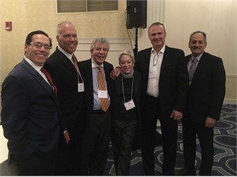Roger Mencarini, NEPTA President; Jim Gallagher, NEPTA BOD; 2017 Hall of Fame Recipient Joel Abraman with his wife Ellen; Paul Smith and Carmine Fiore, New Flyer of America