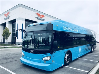 New Flyer's Xceslsior CHARGE zero-emission, battery-electric transit bus was on display at the event. Photo: METRO Magazine