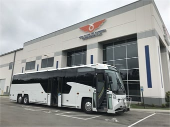The Shepherdsville facility furthers NFI's effort to insource part fabrication capability and increases the company's commitment to meet increased U.S. content requirements under Buy America provisions of the 2015 FAST Act. MCI's d45 CRT LE Coach on display outside the facility. Photo: METRO Magazine