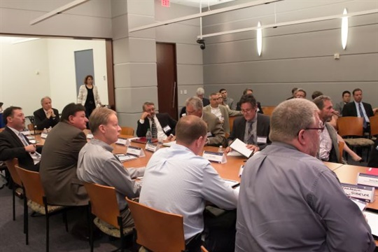 NHTSA's Dec. 1 meeting will primarily cover safety issues around school buses. Seen here is a previous meeting that focused on seat belts. Photo courtesy NHTSA