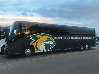Featuring Northern Michigan University's Wildcats sports decal, Checker's new J4500 comes in dark phantom gray with an upscale interior to match.