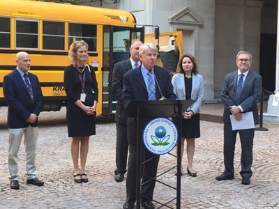 Dale Krapf, past president of the National School Transportation Association, is shown here speaking about the NSTA's support of the Diesel Emissions Reduction Act program at an EPA event to honor Children's Health Month.